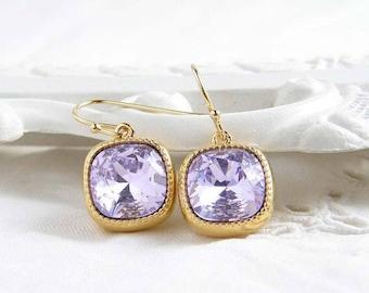 Swarovski Earrings ~ Violet ~ Gift for Her ~ Cushion Cut ~ Light Amethyst ~ Lavender Earring ~ February Birthday