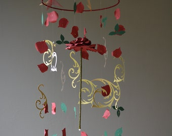 Beauty and the Beast enchanted rose inspired nursery mobile / baby mobile made in burgundy/dark red, green and gold colors - Enchanted rose