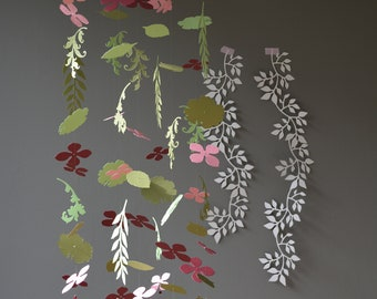 Flowers and leaves nursery mobile or baby mobile from burgundy, old pink and 2 green shades card stock - Handmade, Paper flowers nursery