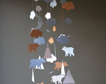 Bear and mountain baby mobile or nursery mobile from soft blue, grey, brown and white card stock --- Nurserydecor, Bear or baby gift