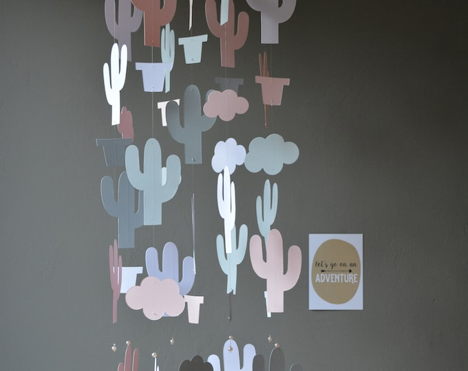 Featured listing image: Cactus nursery mobile or botanical baby mobile from soft pink, grey and white card stock- Wild west theme, cactus decor, desert or baby gift