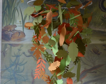 Jungle leaves baby mobile or nursery mobile from orange, soft orange brown and 2 green shades card stock - Greenery, tropical, jungle mobile