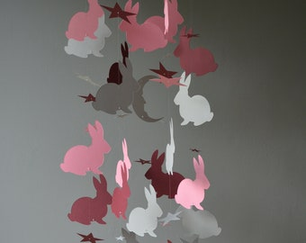 Bunny nursery mobile or baby mobile made from grey, burgundy and vintage pink card stock --- Handmade mobile, baby gift or nursery decor