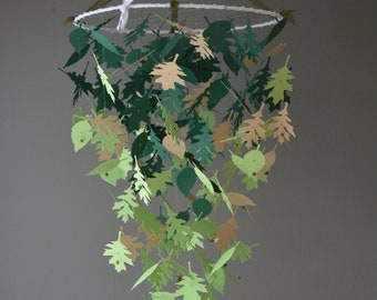 Leaves mobile, baby mobile made from dark green, light green and light brown card stock --- Greenery nursery, tree mobile or baby shower