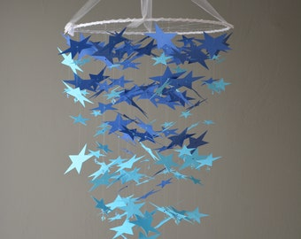 Baby mobile / nursery mobile with stars from navy and aqua blue card stock --- Space, kid's room, starmobile, handmade mobile or Baby gift