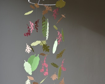 Botanical nursery mobile or jungle baby mobile from burgundy, brown and 3 green shades card stock leaves mobile --- botanical nursery