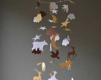 Baby mobile or nursery mobile Noah's ark made from ochre, brown and white card stock --- Noah's ark animal mobile, babygift or babyroom