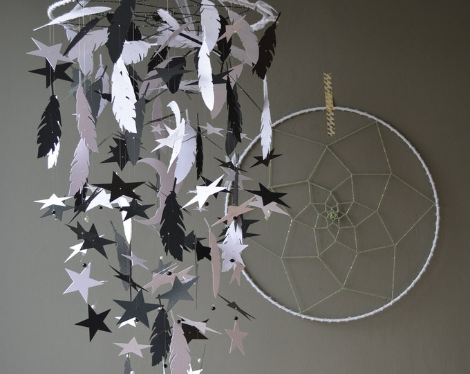 Featured listing image: Celestial dreamcatcher nursery mobile or baby mobile made from black and white shades card stock --- Babygift or babycorner