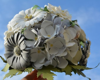 Wedding bouquet or bridal bouquet from paper flowers in ivory and grey shades card stock - flower bouquet or bouquet wedding
