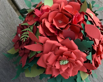 Wedding bouquet or bridal bouquet from paper flowers in red/burgendy shades card stock ---  flower bouquet or bouquet wedding