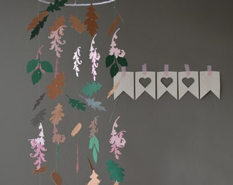Botanical nursery mobile or jungle baby mobile from dusty grey, green/grey, brown,dark green, soft pink and pink card stock --- Greenery
