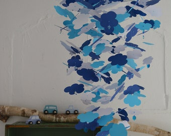 Nursery mobile / baby mobile clouds made from navy, aqua and white card stock --- Sweet table, babyshower, nursery mobile or baby gift