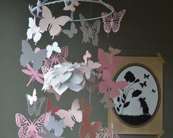 Butterfly and flower nursery mobile / baby mobile made in classic white, soft pink and pink --- Butterfly babyshower, nursery, nursery decor