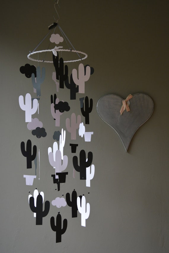 Cactus nursery mobile or botanical baby mobile from black and white card stock --- Wild west theme, cactus decor, desert or baby gift