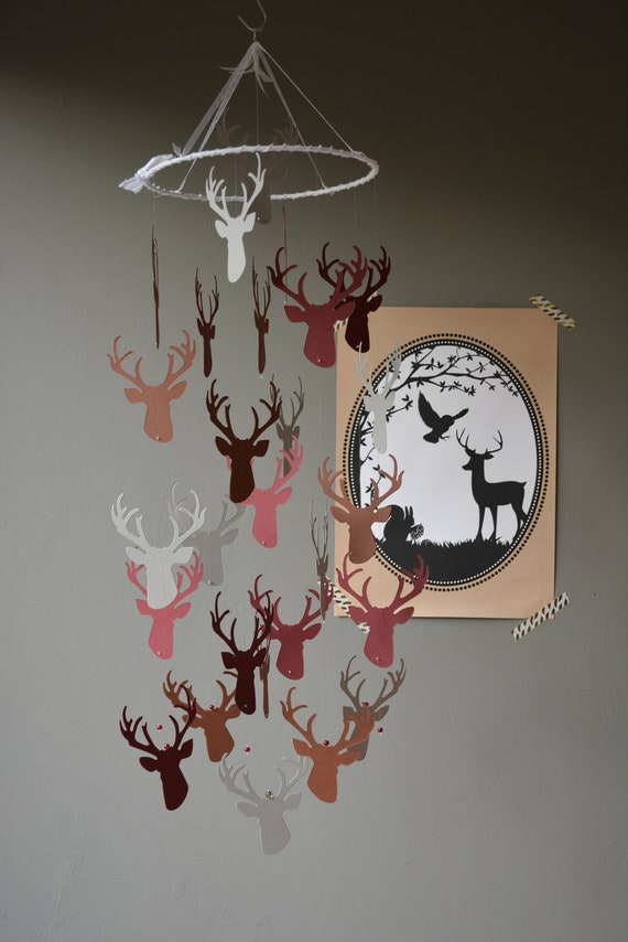 Deer / stags head nursery mobile or baby mobile made from brown, burgundy and grey card stock - Baby gift or nursery decor