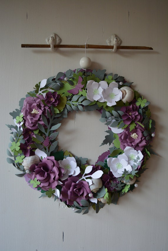 Nursery flower wreath, rose wreath or botanical wreath made from purple, grey, green and white shades cardstock- Storybook rose wreath