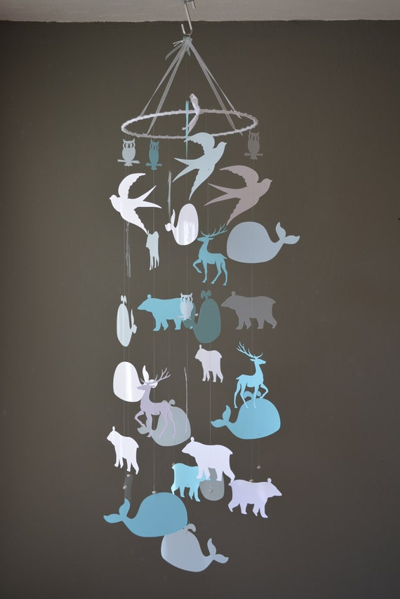 Baby mobile or nursery mobile polar animals made from white, grey and light blue card stock --- Whale, animal mobile, babygift or babyroom