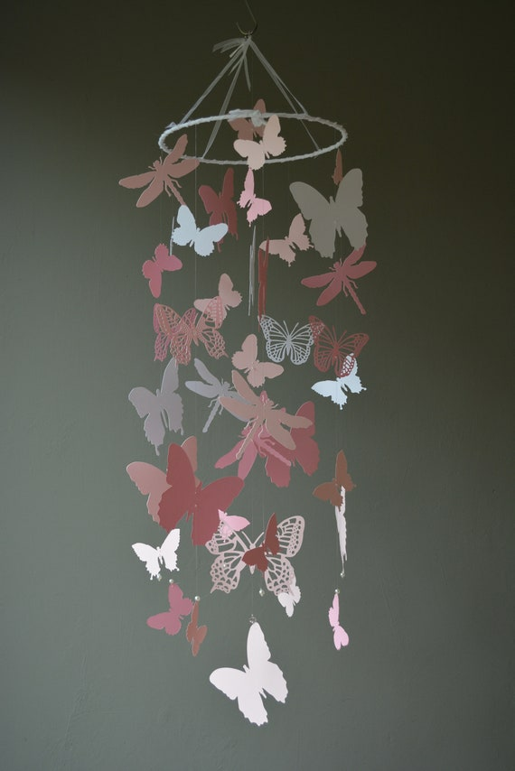 Butterfly and dragonfly nursery mobile / babymobile  from classic white, soft pink and pink card stock - Butterfly babyshower, nursery decor
