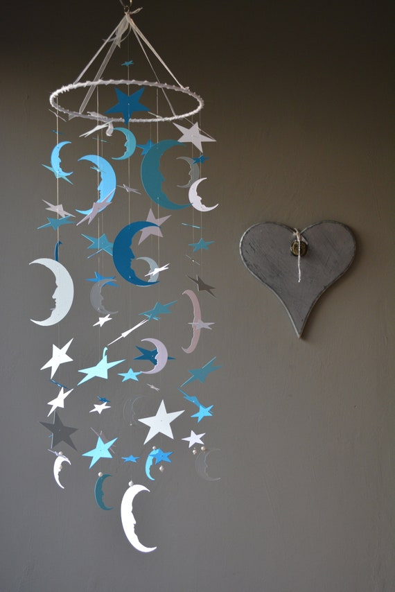 Bohemian baby mobile / moon and star nursery mobile from aqua, blue, grey and white card stock --- Star babymobile, kid's room