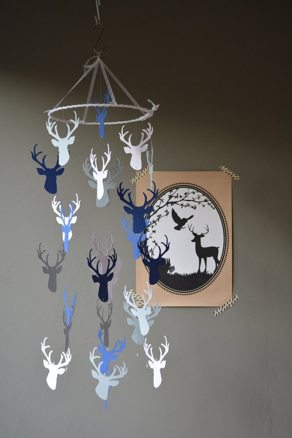 Deer / stags head nursery mobile or baby mobile made from navy, white and grey card stock - Baby gift or nursery decor