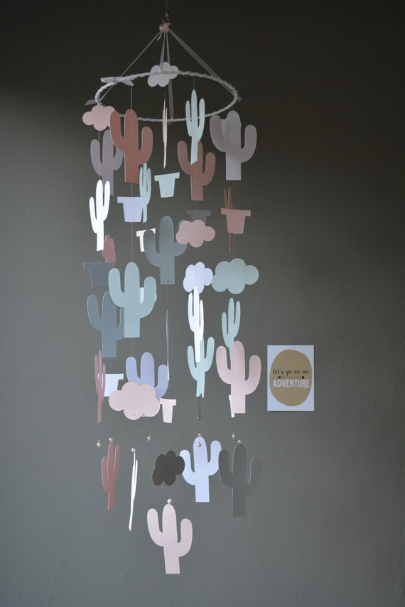 Cactus nursery mobile or botanical baby mobile from soft pink, grey and white card stock- Wild west theme, cactus decor, desert or baby gift