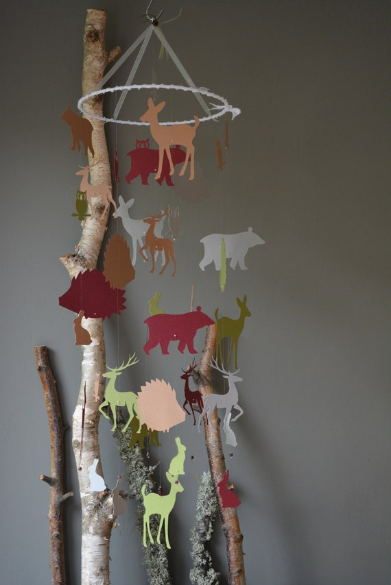Forest animal nursery mobile or baby mobile made from grey, forest green, brown and dark red card stock --- Forest animal mobile, babygift