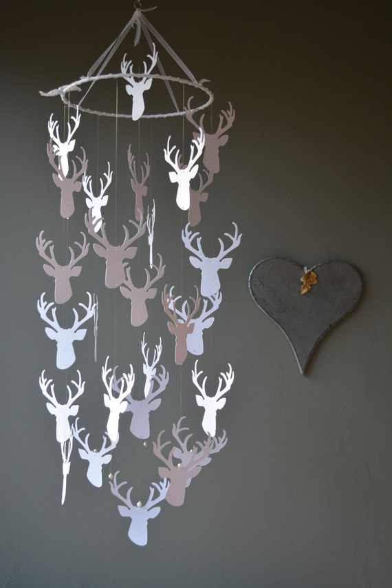 Deer / stags head nursery mobile or baby mobile made from white shades card stock -- Handmade mobile, baby gift or nursery decor