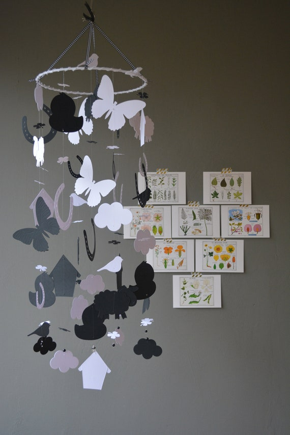 Farm animal nursery mobile or baby mobile made from black and white card stock --- Spring animal mobile, babygift or spring mobile
