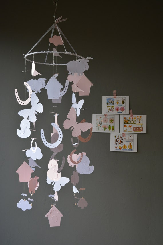 Farm animal nursery mobile or baby mobile made from soft pink and white card stock --- Spring animal mobile, babygift or spring mobile