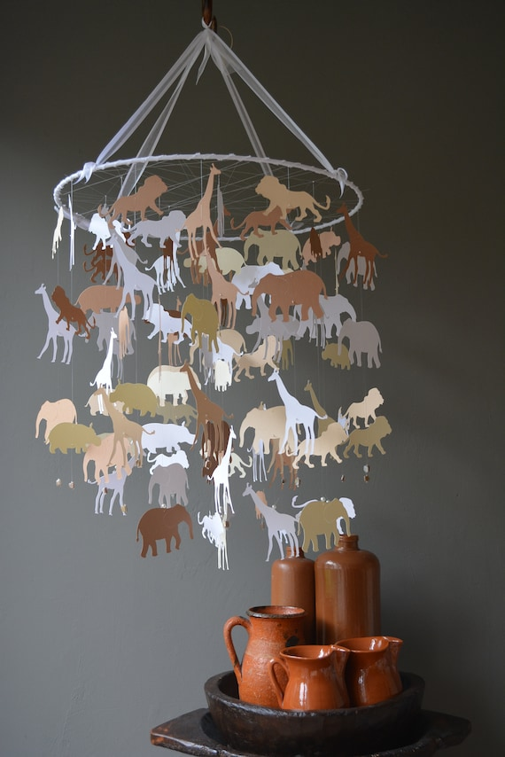 Jungle animal nursery mobile (largest size) or baby mobile made from classic white, brown, tan and creme card stock --- Jungle animal mobile