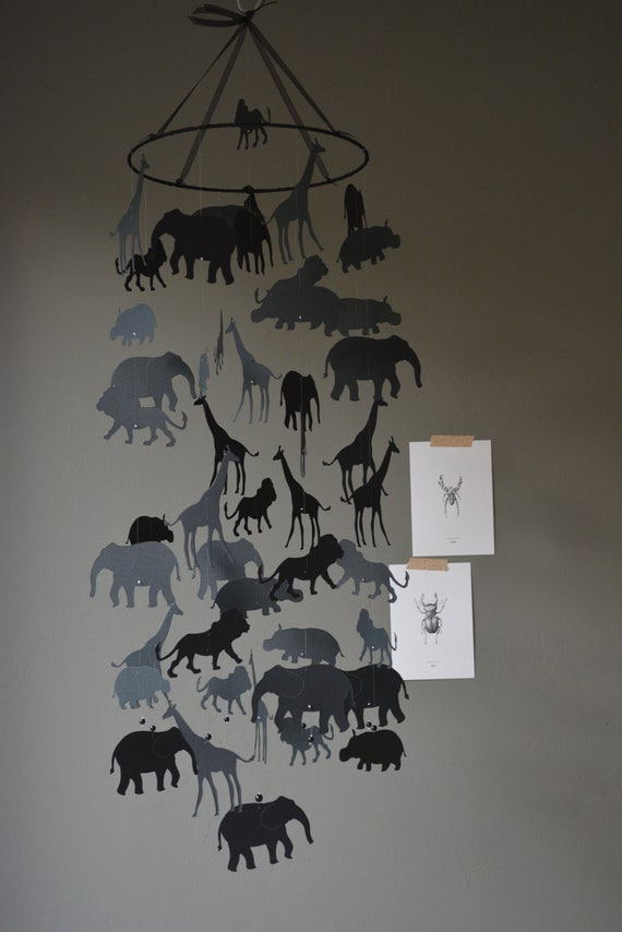 Jungle animal nursery mobile or baby mobile made from black card stock --- Jungle animal mobile, babygift or Jungledecor