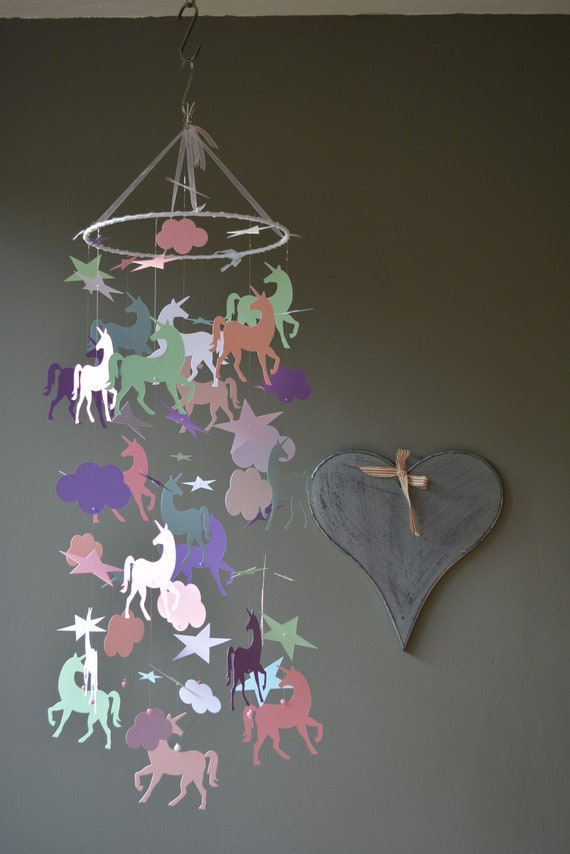 Unicorn nursery mobile or baby mobile made from happy colors card stock --- Baby gift, unicorn decor or nursery decor