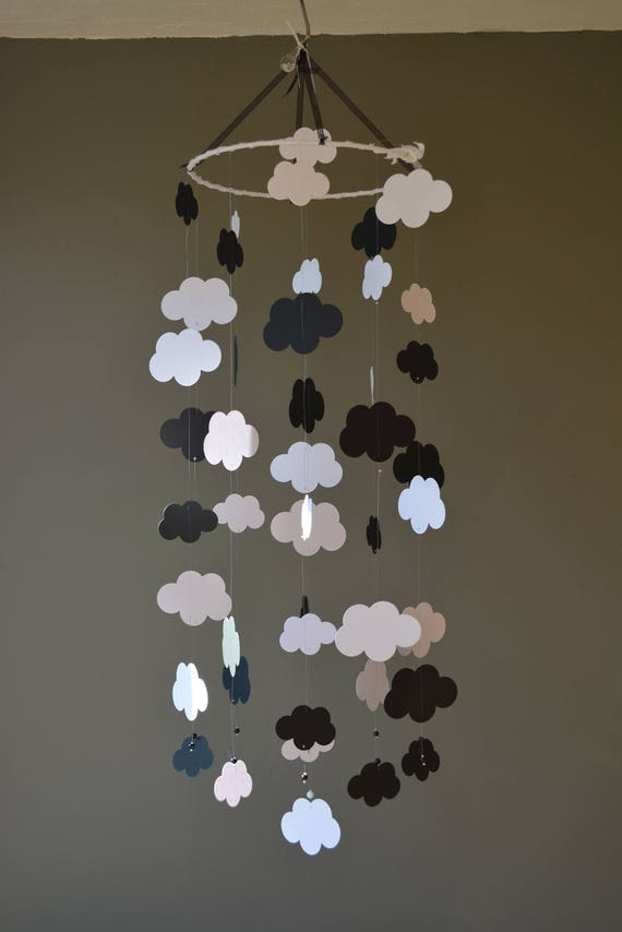 Cloud mobile / nursery mobile / baby mobile made from white and black card stock --- Handmade mobile, nursery decor of baby gift