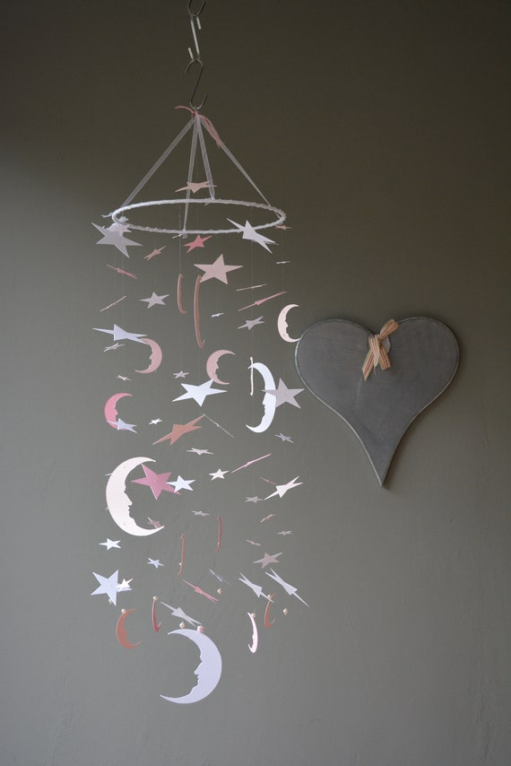 Bohemian baby mobile / moon and star nursery mobile from pink, soft pink and white card stock --- Star babymobile, kid's room or Baby gift