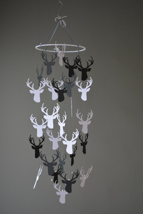 Deer / stags head nursery mobile or baby mobile made from black and white card stock --- Handmade mobile, forest animal mobile or baby gift