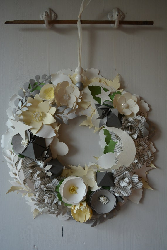 Nursery flower wreath, moon wreath or botanical wreath made from ivory/cream, grey, green and silver shades cardstock- Storybook rose wreath
