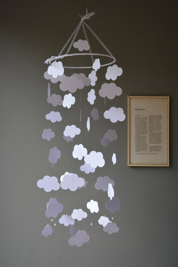 Cloud baby mobile / nursery mobile made from white card stock -- Handmade mobile, nursery decor, mom to be or baby gift