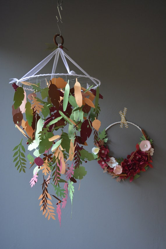 Jungle leaves baby mobile or nursery mobile from ochre-brown, burgundy, brown and forest green card stock - Botanical nursery, woodland