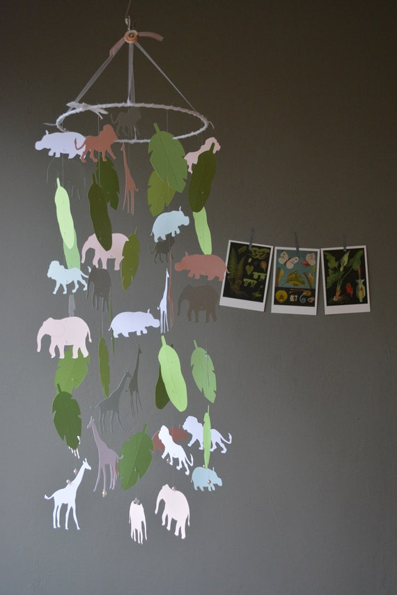 Jungle animal nursery mobile or baby mobile made from grey, white, soft pink and green card stock Serengeti mobile, babygift or Jungledecor