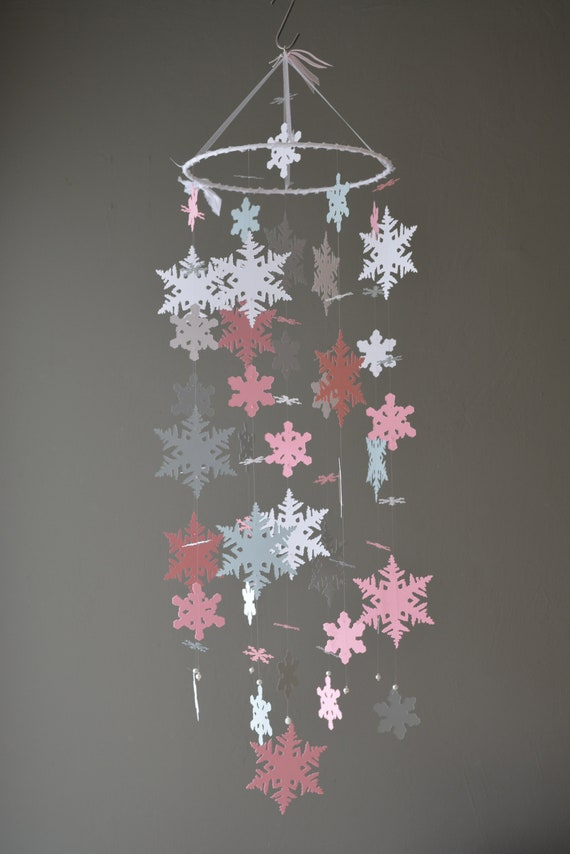 Frozen baby mobile / nursery mobile snowflake made from pink, grey and classic white card stock --- Handmade mobile or nursery decor