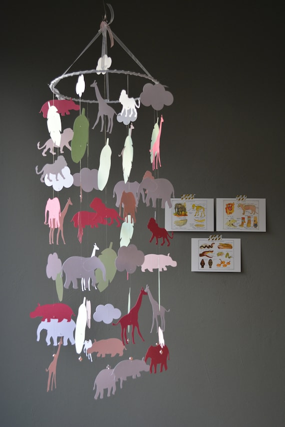 Jungle animal nursery mobile or baby mobile made from white, soft pink, soft green and fuchsia card stock -- Serengeti mobile or Jungledecor