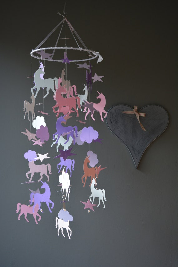 Unicorn nursery mobile or baby mobile made from dusty grey, pink, soft pink, lilac and purple card stock --- Unicorn decor or nursery decor