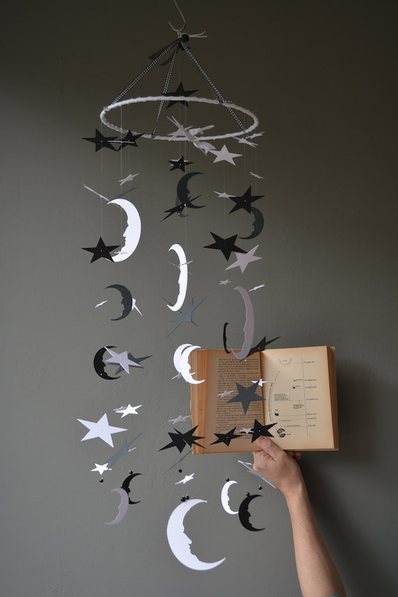 Bohemian baby mobile / moon and star nursery mobile from black and white card stock --- Star babymobile, kid's room or Baby gift