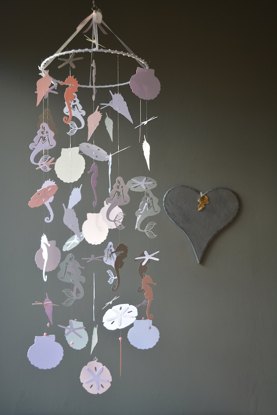 Mermaid nursery mobile or baby mobile made from grey, white, soft pink and lila card stock --- Mermaid mobile girl, Babygift or Mermaidparty