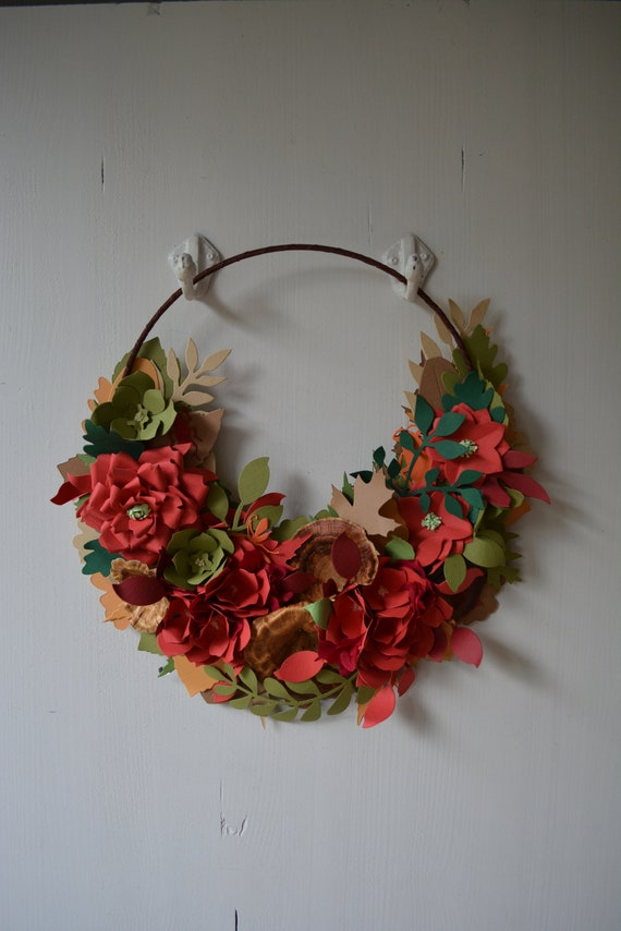 Fall wreath, flower wreath or botanical wreath made from red, green and brown shades cardstock and a couple bugs in orange - Red rose wreath