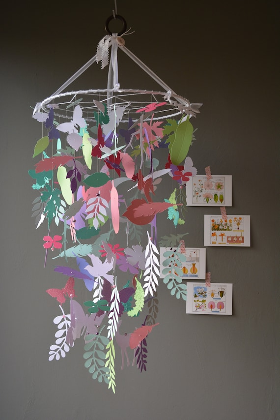 Botanical dream garden nursery mobile or baby mobile made from green, purple, grey, pink and white shades card stock --- Babygift