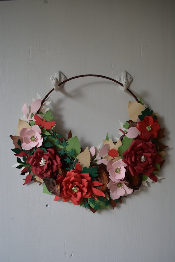 Holiday wreath, flower wreath or botanical wreath made from burgundy, red, soft pink, green and brown shades cardstock --- Red rose wreath