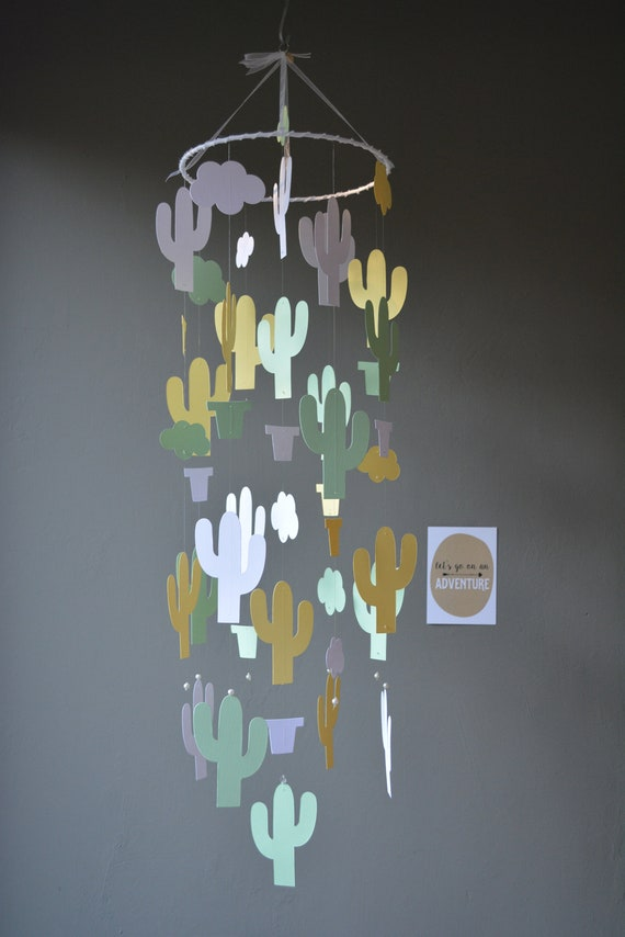 Cactus nursery mobile or botanical baby mobile from mint, yellow and white card stock --- Wild west theme, cactus decor, desert or baby gift