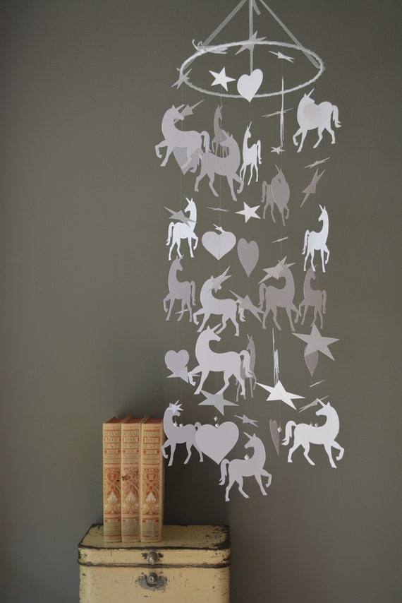 Unicorn nursery mobile or baby mobile made from white card stock --- Baby gift, unicorn decor or nursery decor