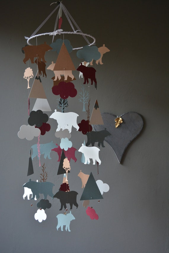 Bear and mountain nursery mobile or baby mobile from burgundy, dusty grey, grey and brown card stock --- Nurserydecor, Bear or baby gift